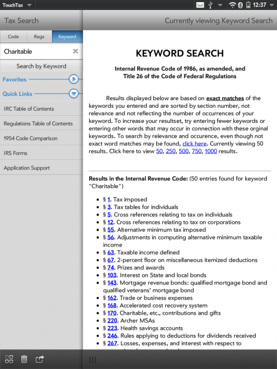 TouchTax keyword search