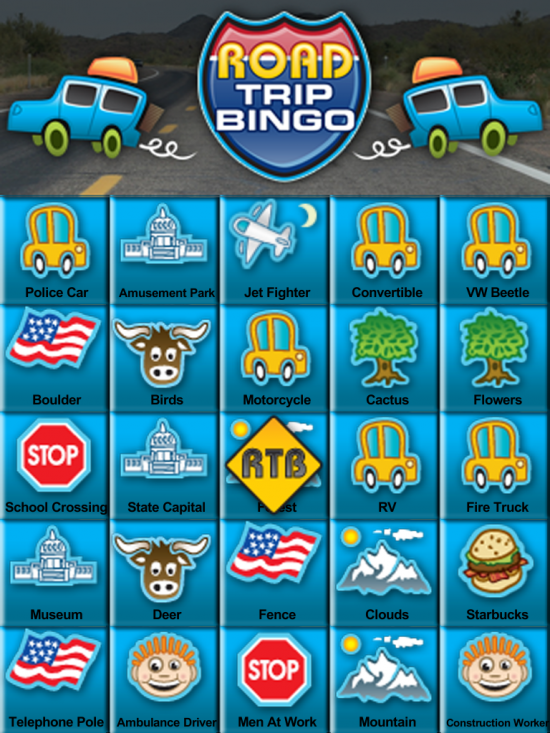 Road Trip Bingo for TouchPad