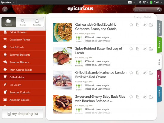 epicurious for touchpad