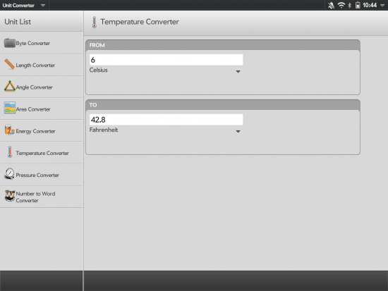 Unit Converter in TouchPad