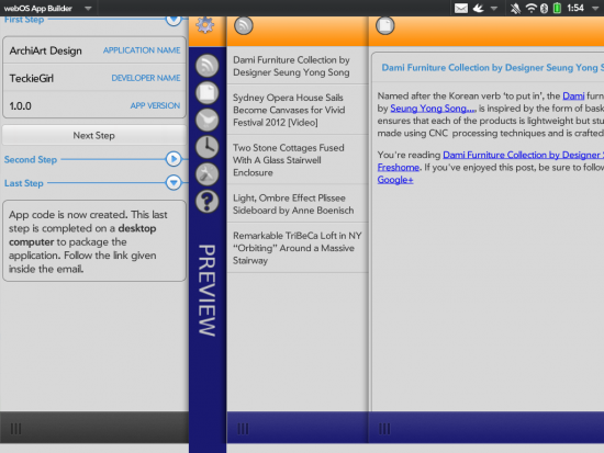 webos app builder for touchpad