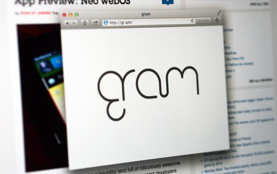 Gram website transforms from nonchalant redirect to inscrutable logo on white