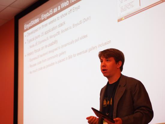 Ryan Rix presents at the Enyo Hackathon