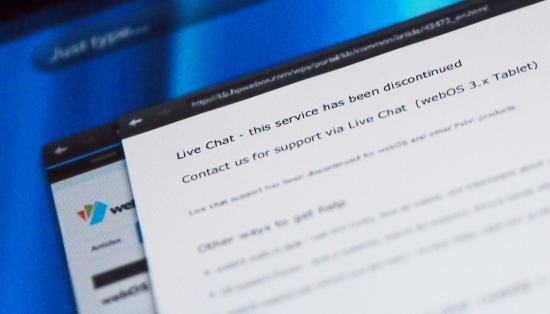 HP discontinues webOS live chat support