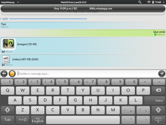 MojoWhatsup homebrew app bringing WhatsApp to webOS