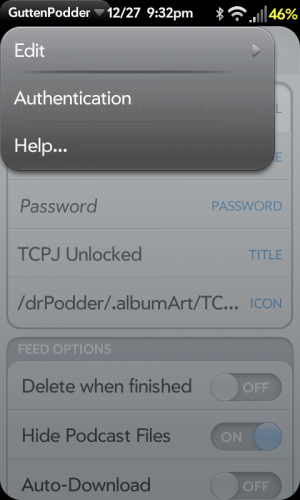 GuttenPodder Authentication dropdown