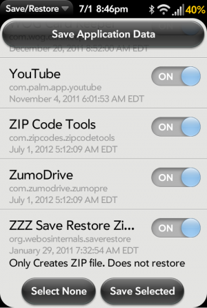 Save Restore ZIP Creation